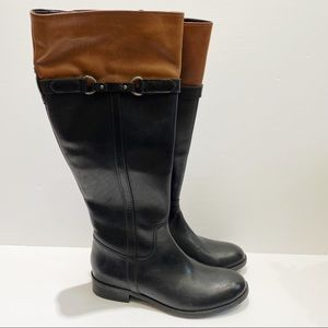 Clarks black & brown tall leather riding boots